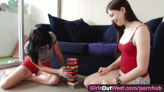 Preview 2 of Girls Out West - Pale amateur lesbians give awesome rimjobs