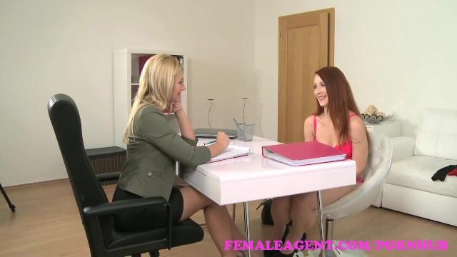 Blonde redhead interviews Femaleagent. sexy blonde slides her strap on into slim redhead