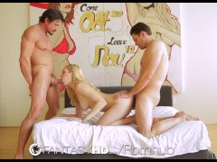 Alli Rae is fucked in threesome with double cumshot by two guys - FantasyHD