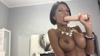 anisyia livejasmin sloppy blowjob and gagging, huge tits covered in spit