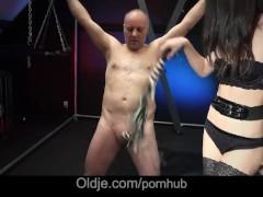 Movie:Cute brunette spank an old man...