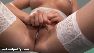 Anal play for sexy chick in white stockings  lace stockings big tits babe toys bigtits pussy brunette stockings toy puffy pussy big boobs wetandpuffy adult toys lace puffypussy puffy
