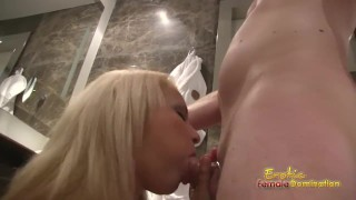 Cuckolding Husband Has To Watch Wife Blow A Stud  female-domination smothering ballbusting cuckolding bdsm face sitting cuckold facesitting femdom fetish cfnm