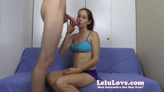 Talking to you my cuckold while I suck his cock til he cums on my tits  homemade cuckolding deepthroating amateur blowjob cfnm lelu cumshot fetish hardcore handjob natural-tits brunette lelu-love lipstick ponytail