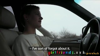 Preview 4 of Girlfriends Cute girls explore lesbian fantasy on road trip