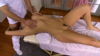 A blowjob gets a massage blondie and czech gives ball athletic