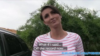 PublicAgent Short haired brunette MILF bent over and fucked  outdoors outside point-of-view mom blowjob amateur cumshot pov cum-on-tits real reality short-hair publicagent mother