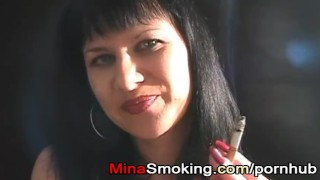 Housewife by mina strict smoking handjob sexy couple brunette