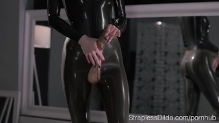 Maria Pie in Latex Strapon Cums  self facial strapless dildo high heels s
