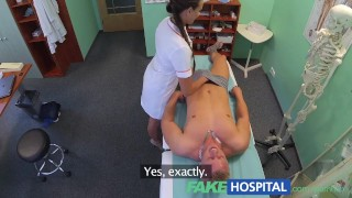 Screen Capture of Video Titled: FakeHospital Sexy nurse gets a mouthful of cum in the doctors office