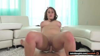 Brunette Amateur tries out porn and ends up loving it