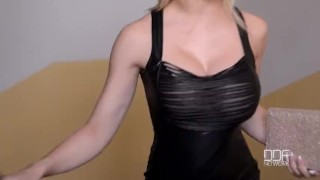 Submissive blonde Chessie Kay gets cuffed and creamed Riding point