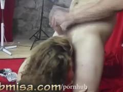 Czech MILF Misa gives sexy blowjob and handjob