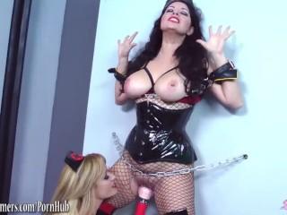 Angela brings tied up huge tits girlfriend to orgasm
