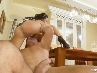 Red hot brunette bent over and fucked before taking a load over her pussy