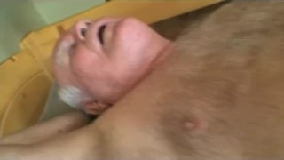 lucky grandpas cock teasing with dildo