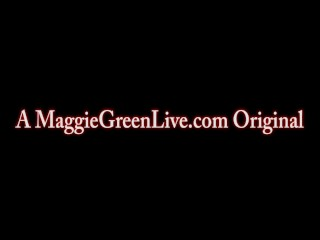 All natural maggie green plays with bright green sex toy!