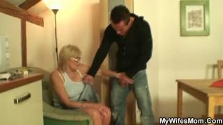 Porn loving granny pleases son in law
