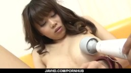 Busty Ririka Suzuki blows on cock like a true angel