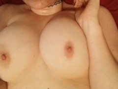 playing with my natural DD tits and hard pink nipples
