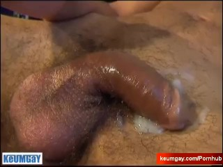 Repair guy serviced his huge cock by a client in spite of him!
