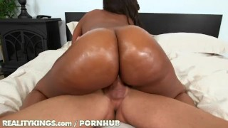 Reality Kings - Curvy ebony babe takes big white cock Gape up