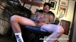 Tatted Latino skater beats off