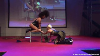 On stage and lesbian white action black the ebony girl