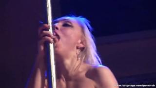 Sexy blonde MILF fucks big dildo on the stage