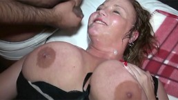Mature busty BBWs bukkake party