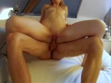 Super hot skinny blonde sucks dick and gets fucked hard
