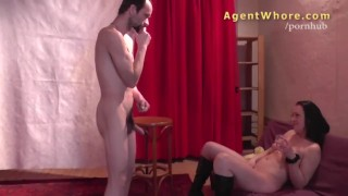 Wild cougar does erotic show for shy stranger Natural blowjob