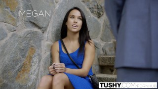 TUSHY My Girlfriend Megan Rain Gets Fucked in the Ass by the Neighbor! Porn face