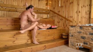 Slovak babe Pattty Michova fucks in Sauna Tattoo bald