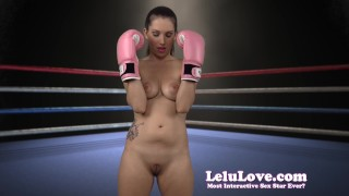 Lelu Love-Naked Boxing FemDom Bitch  homemade boxing hd femdom amateur solo lelu fetish domination gloves brunette socks lipstick ponytail natural tits makeup lelu love