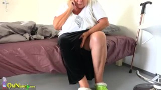 Granny with big boobs masturbate with cute young girl with dildos