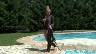 Euro femdom pornstar Kathia Nobili in a pool  outside oral femdom blowjob cumshot public glamcore milf cock sucking czech elegantraw storyline natural tits swimmingpool outsie drivebysin analtoy