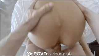 POVD - August Ames gets her ass slapped and fucked hardcore point of view canadian big tits raw blowjob shaved pussy cock sucking reverse cowgirl pov cusmhot brunette doggy style povd oral big dick hd