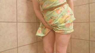FRISKY BUSINESS- birthday girl horny in public bathroom