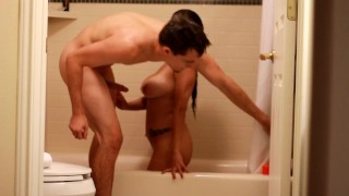 Preview 1 of Fucking And Blowing In The Shower On Vacation! Big Tits Amateur Rides Sucks