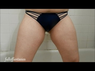 Hot Amateur Pissing in a blue strappy bikini panty