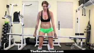 Preview 2 of TheRealWorkout - Tatted Up Trainer Slut Fucks Her Client