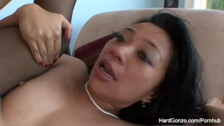 Asian MILF Lucky Starr loves to get fucked  doggy style bj asian mom blowjob puba hardcore milf brunette cowgirl filipina nylons mother stockings blow job cum in mouth hardgonzo