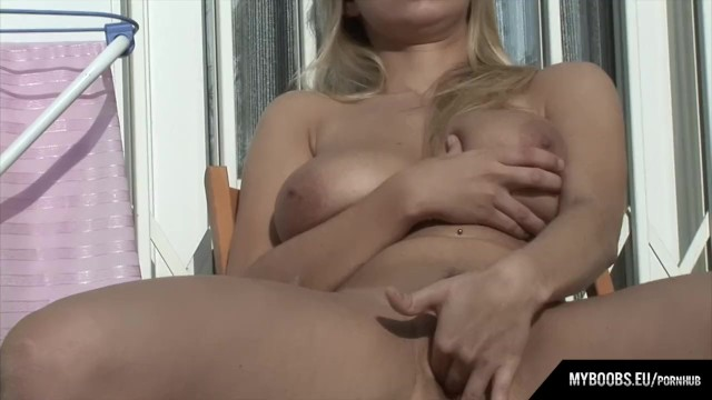 Busty star Katrina Kozy in hot day masturbate on balcony