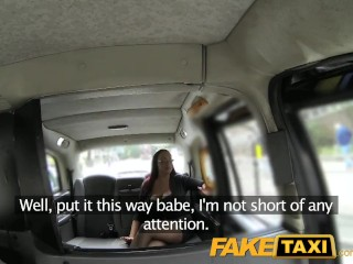 FakeTaxi Secretary looking lady with huge tits and a slippery pussy
