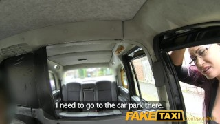 FakeTaxi Secretary looking lady with huge tits and a slippery pussy porno