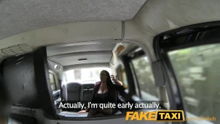 FakeTaxi Secretary looking lady with huge tits and a slippery pussy Natural tits