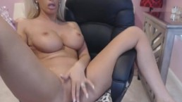 Busty Blonde Webcam Babe Fucking Pussy With Her Toy