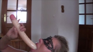 Preview 6 of Extreme Triple Penetration. Huge Dildo Deepthroat, Stapon and Big Cock