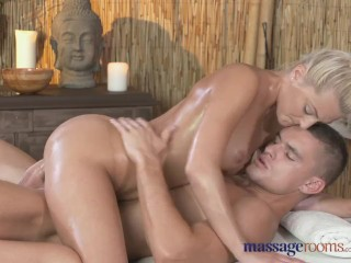 Massage Rooms Horny petite blonde has her shaved hole filled up to the max